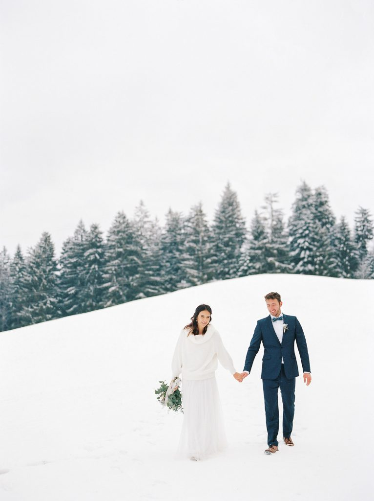 Winter elopement snow mountains