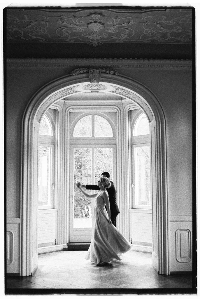 Couple dancing waltz during an intimate wedding in Austria