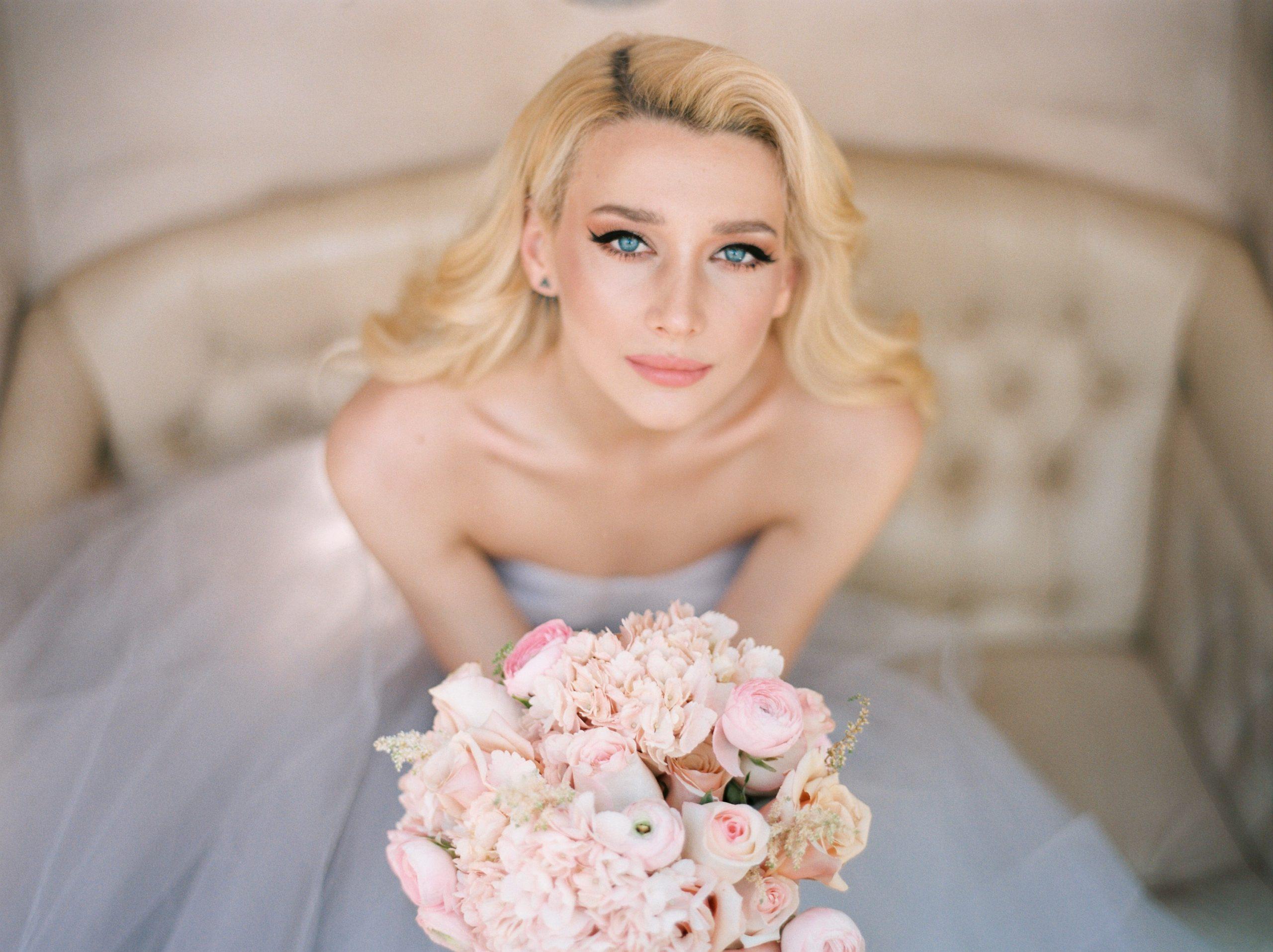 bride holding bouquet wedding in Nafplio